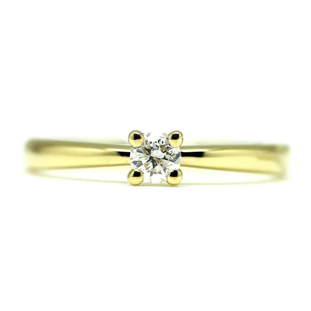 Engagement Ring Yellow Gold 0.18 Ct