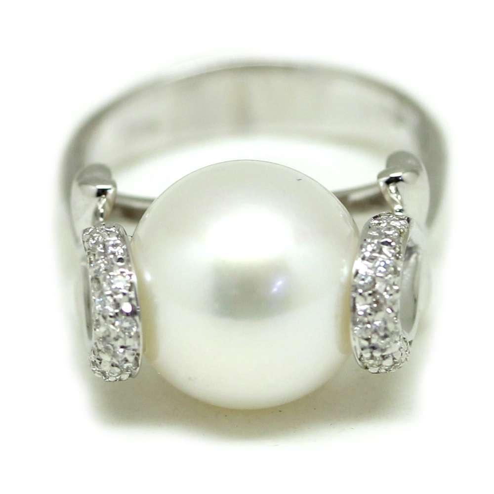 Anillo Oro Blanco 18Kl Perla Cultivada 12mm 0.20 Cts