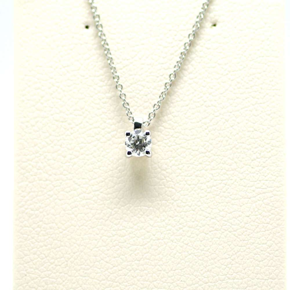 Chain And Pendant In 18K White Gold With Diamond 0,24 Cts