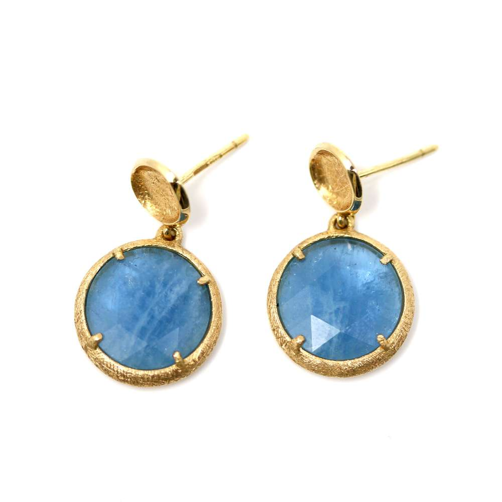 Gold earrings 18kte quartz
