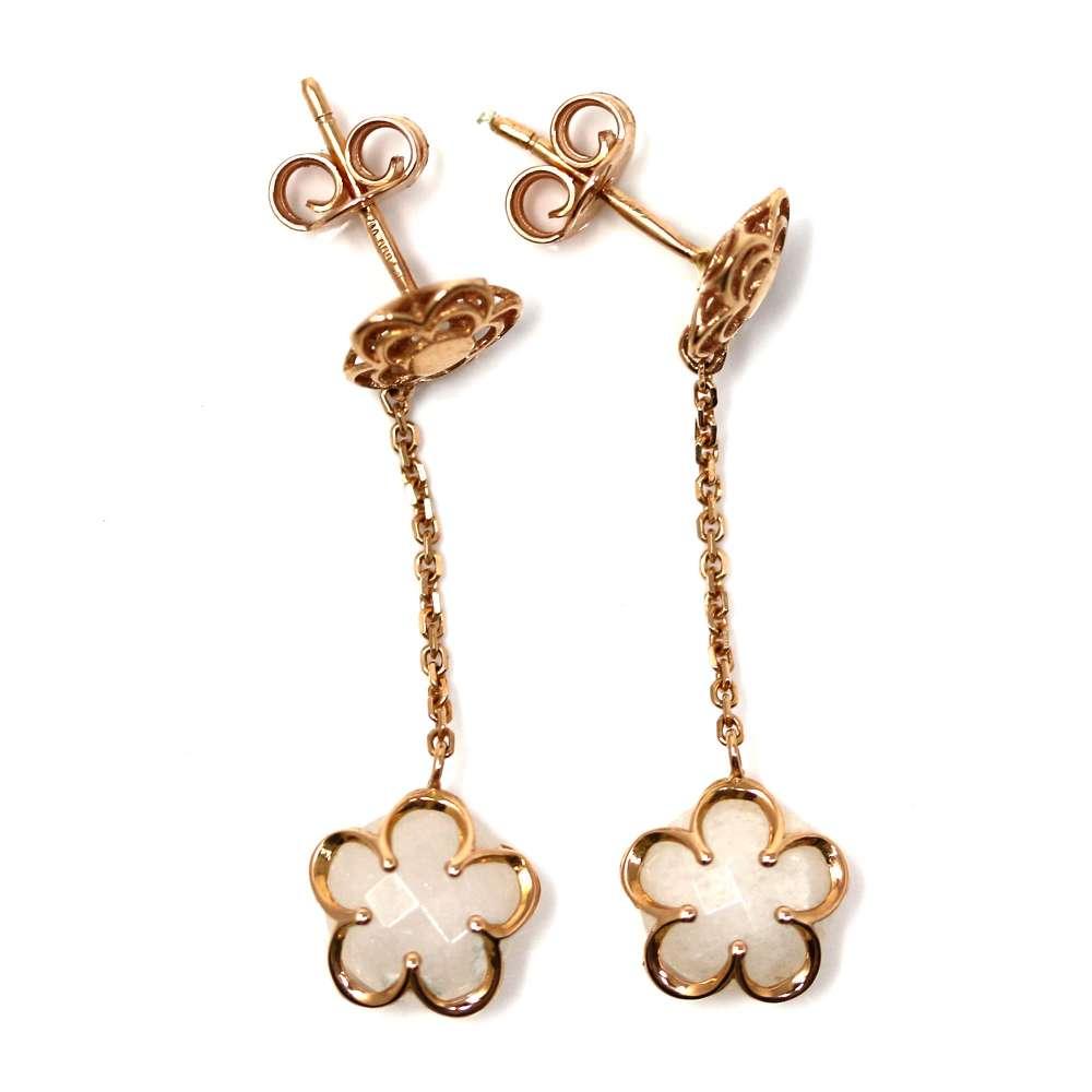 Gold Earrings 18 K White Quartz