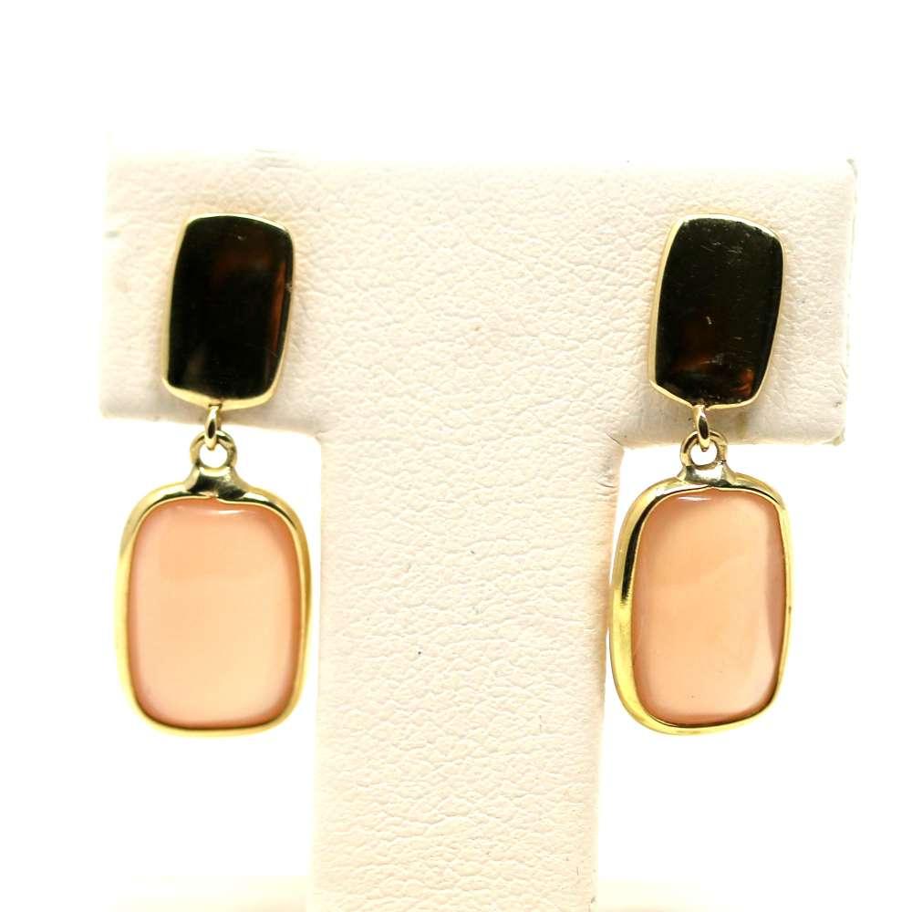 Boucles d'oreilles en or 18 carats Coral quartz