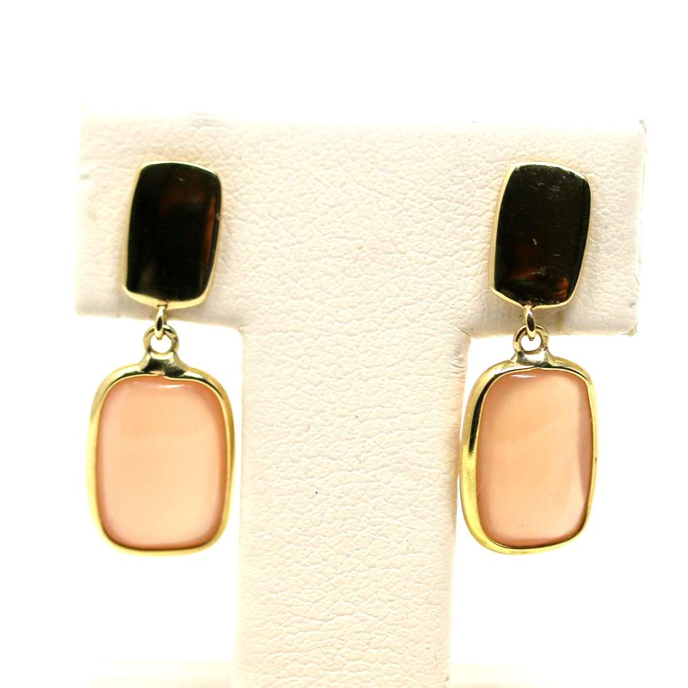 Gold Earrings 18K Coral Quartz