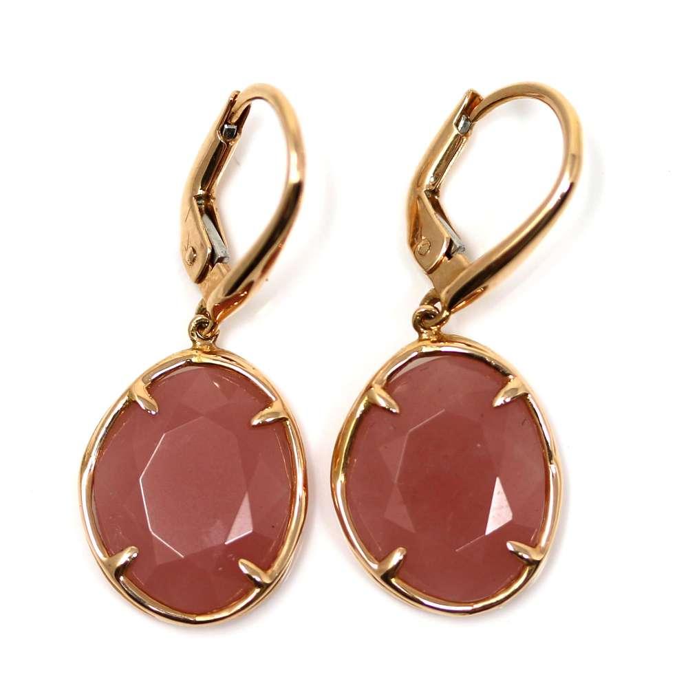 Gold Earrings 18K Rose Quartz