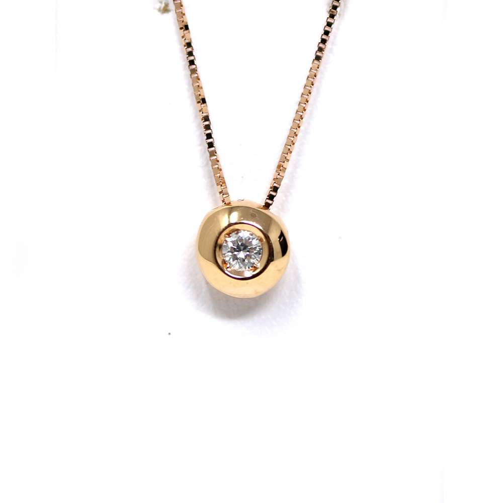 Chain And Pendant In 18K Rose Gold With Diamond 0,10Cts