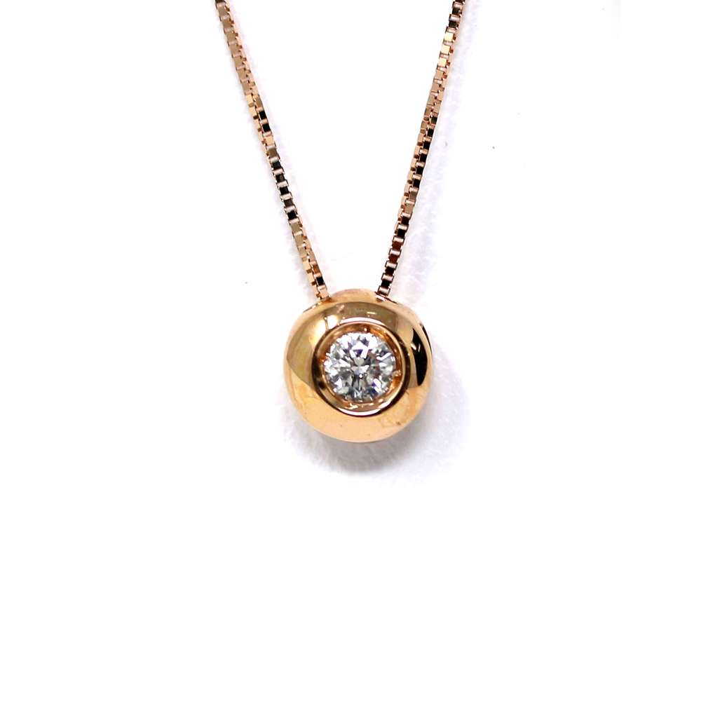 Cadena Y Colgante Oro Rosa 18Kl Brillante 0,10 Cts