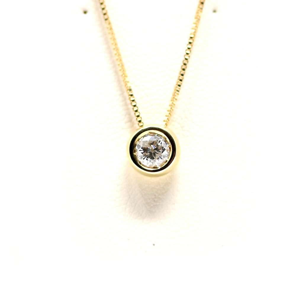 Kette Und Anhänger In 18 Karat Gelbgold Mit Diamanten 0.30 Ct