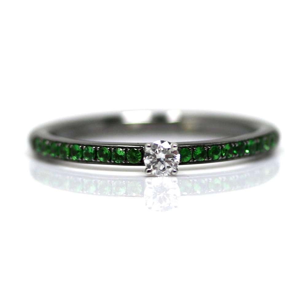 Weißgold Smaragd-Ring 18kl