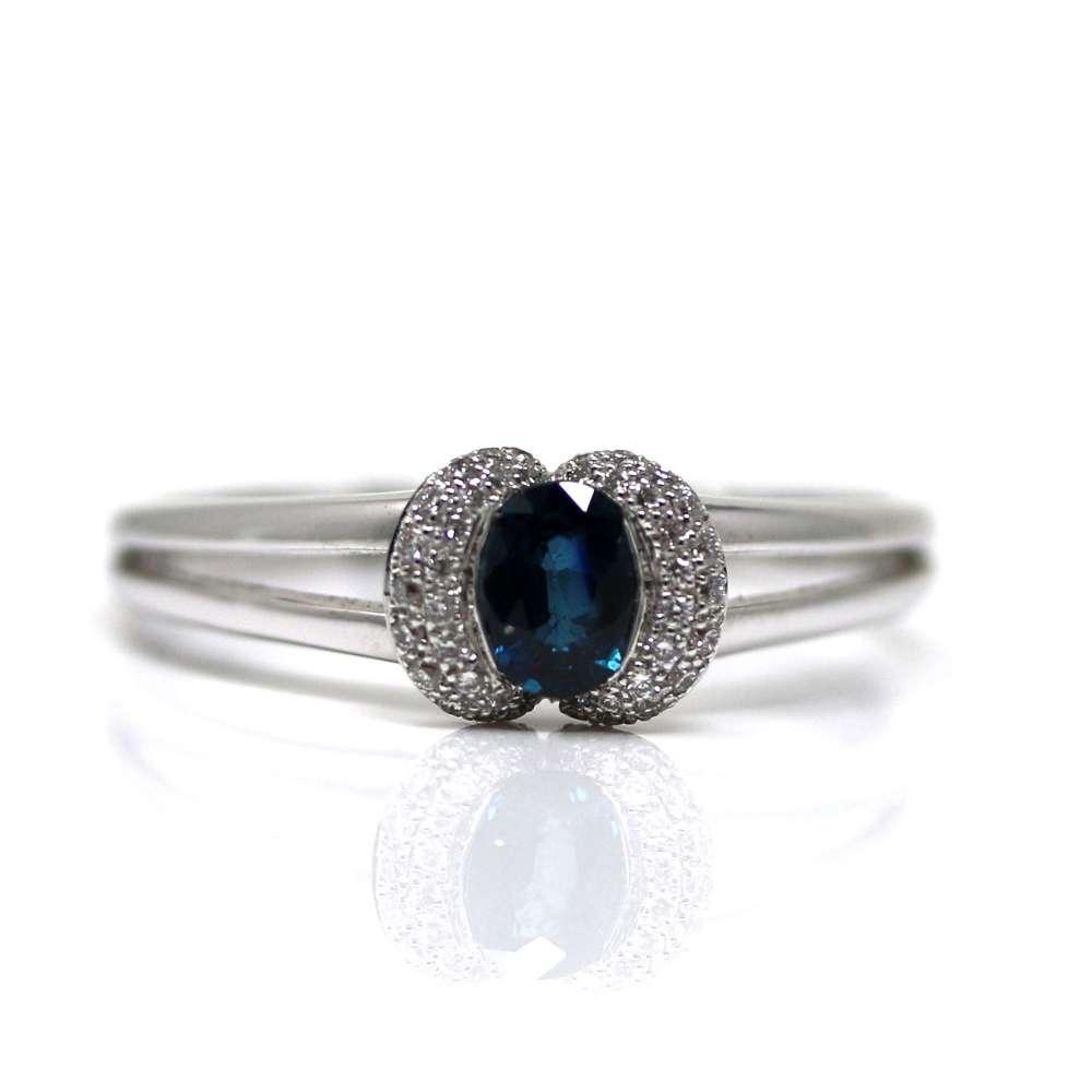 Anneau Or Blanc 18Kl Diamant & Sapphire