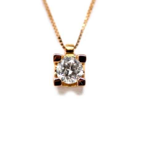 Cadena Y Colgante Oro Rosa 18Kl Diamante 0,26 Cts