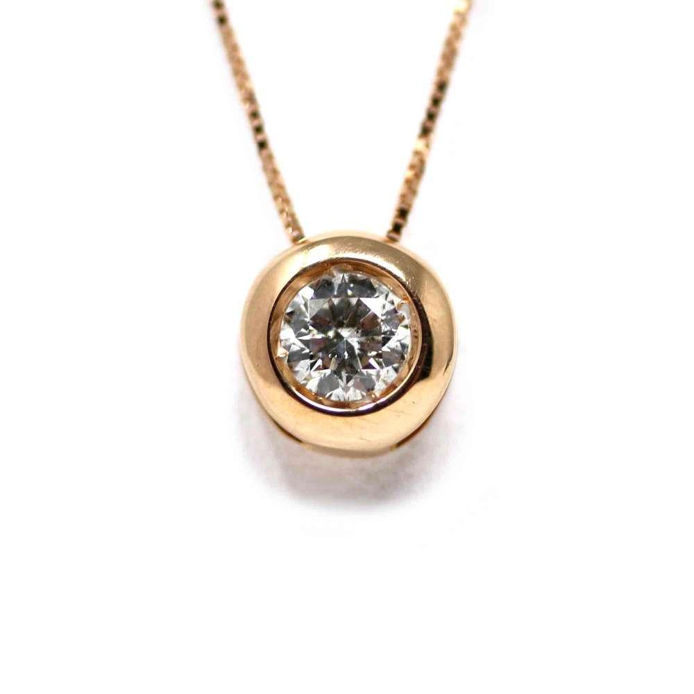 Chaîne Et Pendentif En Or Rose 18Kl Avec Diamant 0,30 Ct
