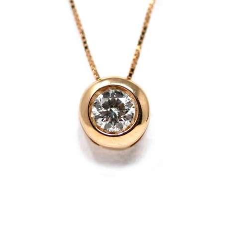 Cadena Y Colgante Oro Rosa 18Kl Diamante 0,30 Cts