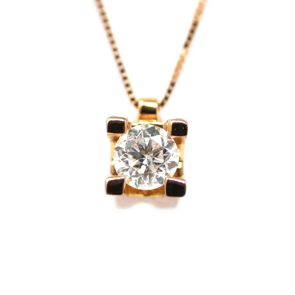 Chaîne Et Pendentif En Or Rose 18Kl Avec Diamant 0,40 Ct