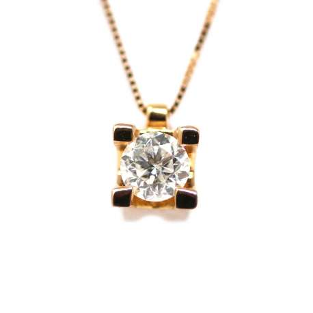 Cadena Y Colgante Oro Rosa 18Kl Diamante 0,40 Cts
