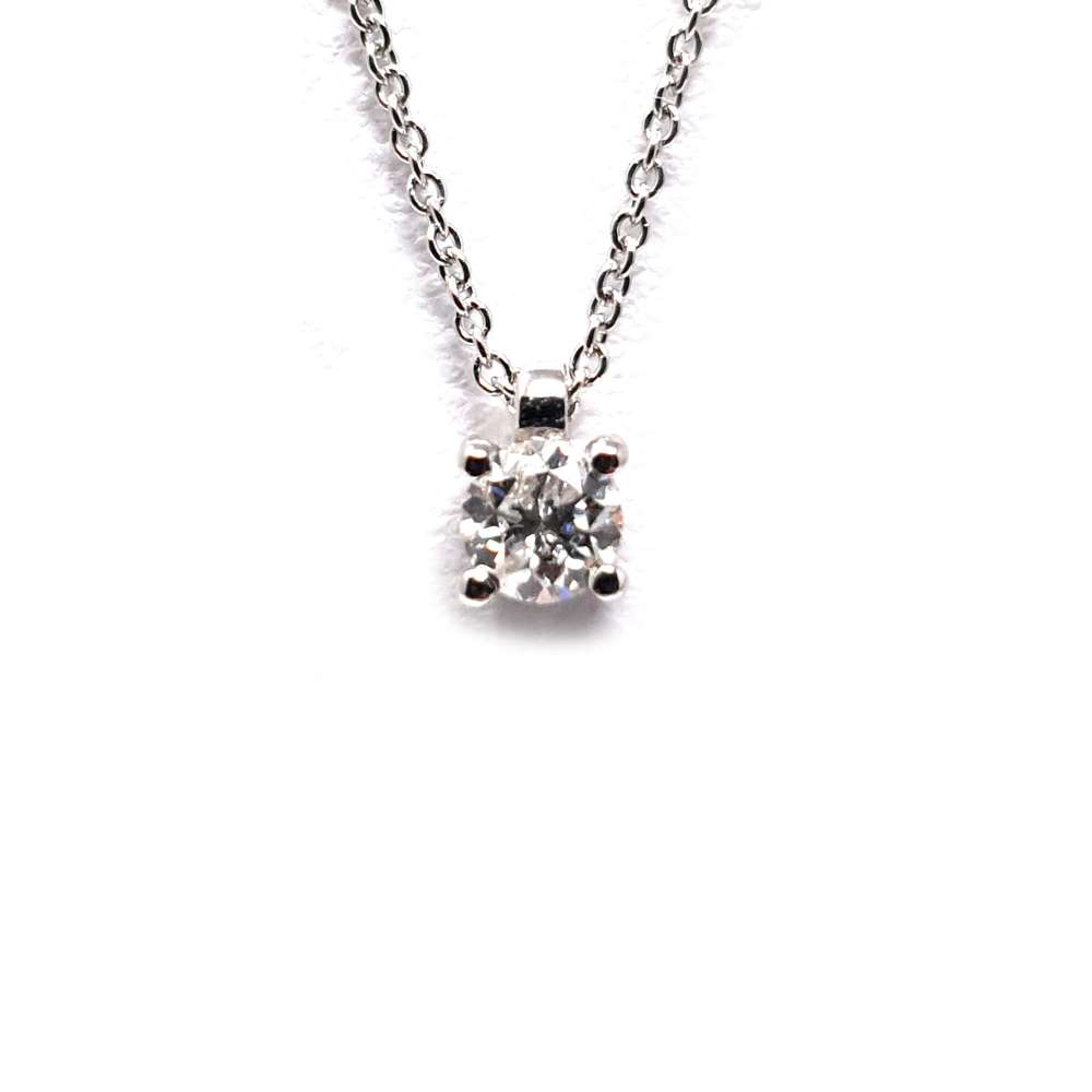 Chain And Pendant In 18K White Gold With Diamond 0,20 Cts