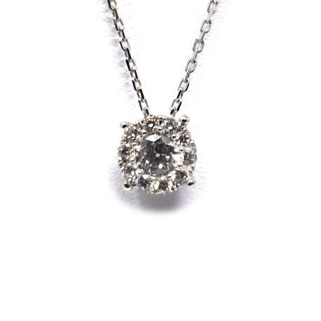 Chain and Pendant White Gold 18k 0.27Ct.