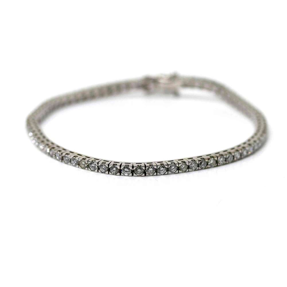 Bracelet Rivier Or blanc et brillant