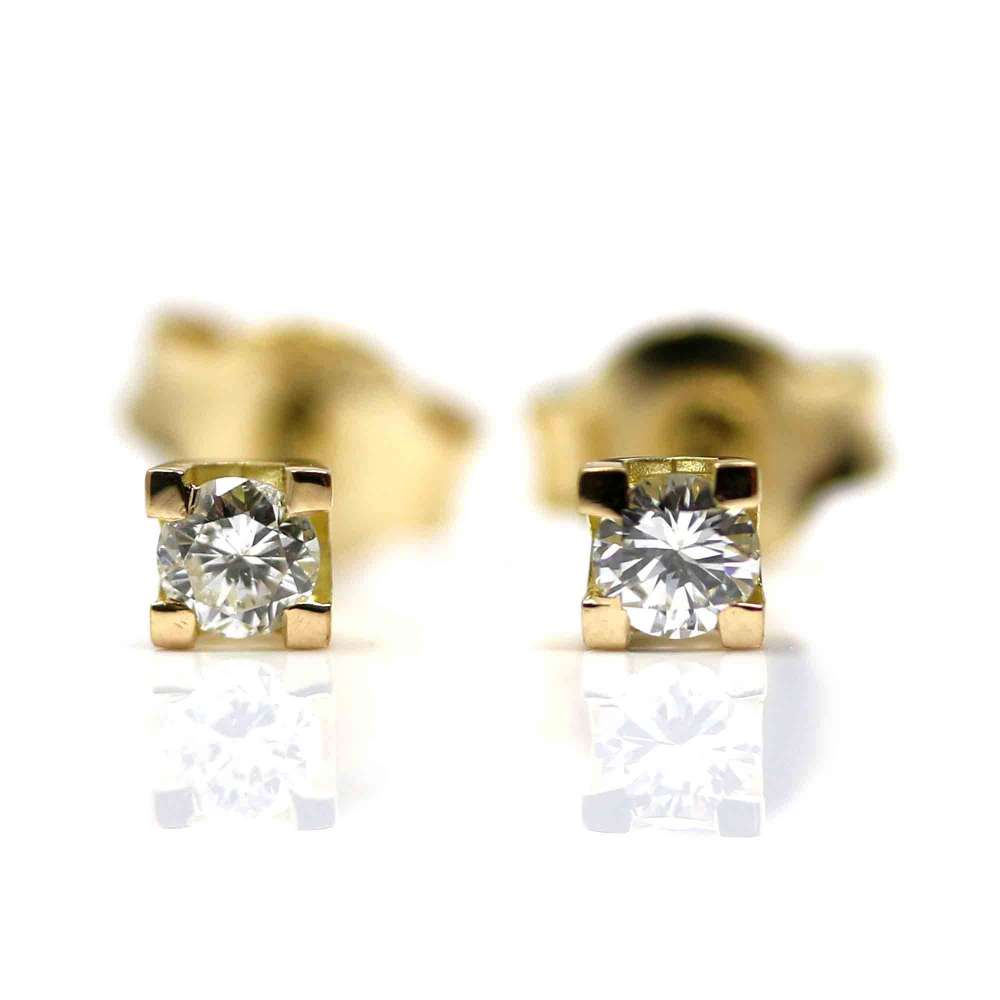 Yellow Gold and Brilliant Earrings 0.20Ct