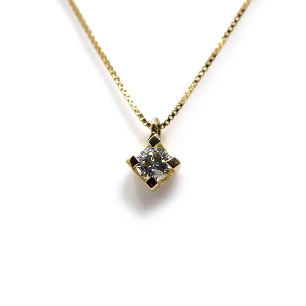 Kette Und Anhänger In 18 Karat Gelbgold Mit Diamant 0,10CT