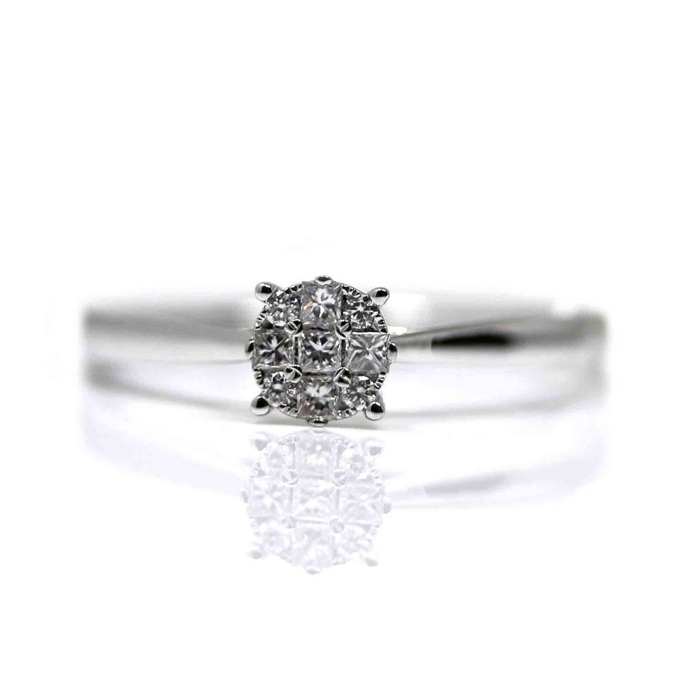 White Gold Ring 18Kl & Diamond 0,15Ct