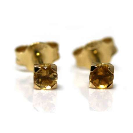Yellow Gold and Blue Citrine Earrings