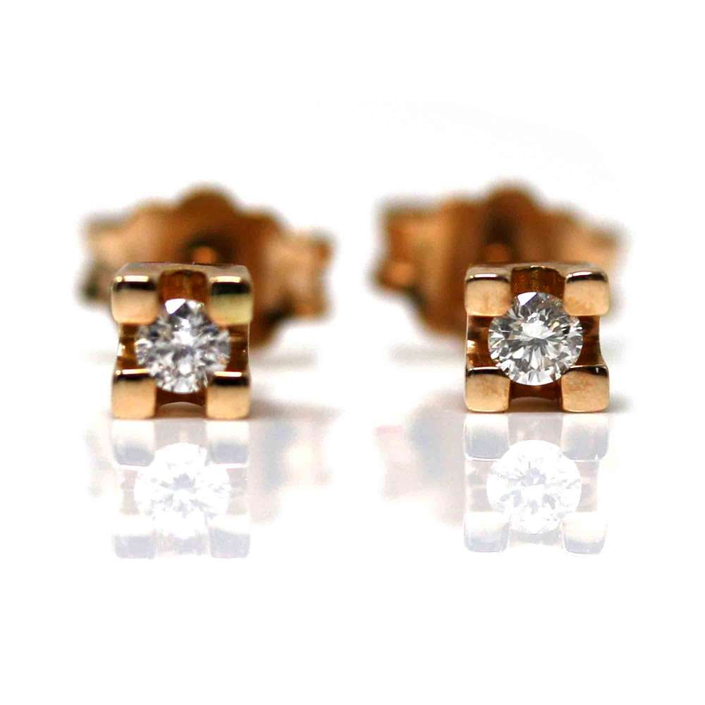 Rose Gold Ohrringe 18kl & Diamant 0,10 Cts