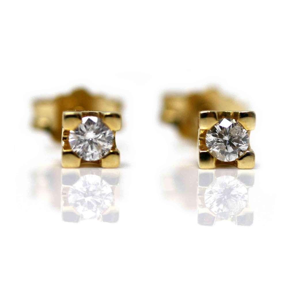 Boucles D'oreilles En Or Jaune 18 Kl & Diamant 0,10Cts