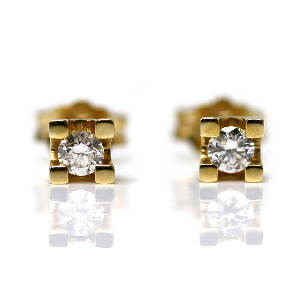 Yellow Gold Earrings 18kl & Diamond 0,24Cts