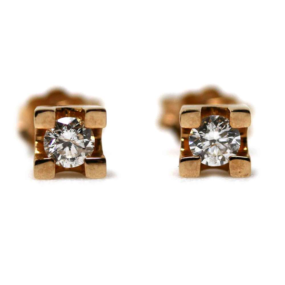 Rose Gold Earrings 18kl & Diamond 0,30Cts