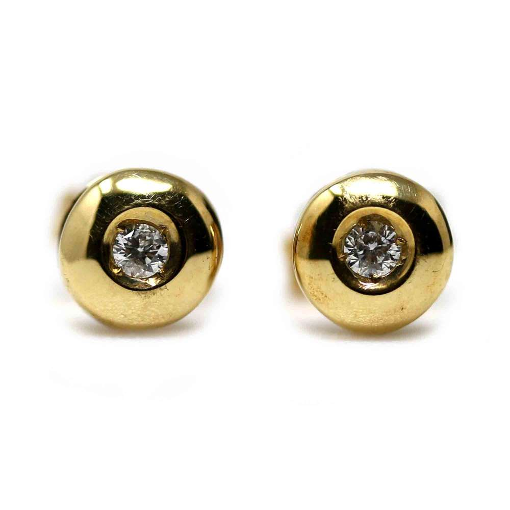 Yellow Gold Earrings 18kl & Diamond 0.10 Ct