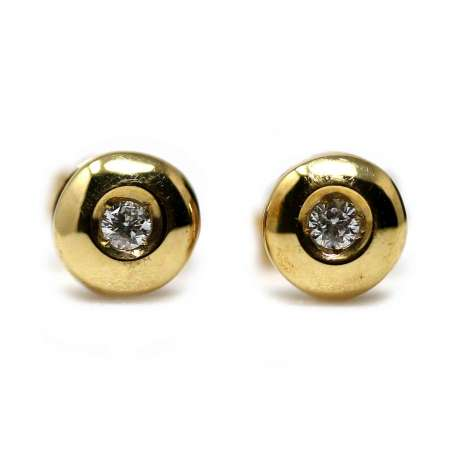 Yellow Gold Ohrringe 18kl & Diamant 0,10 Cts