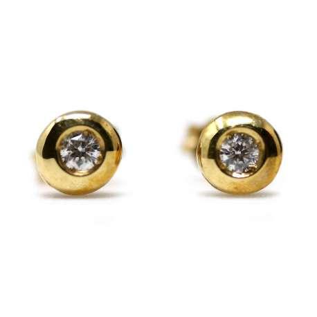 Yellow Gold Ohrringe 18kl & Diamant 0,15 Cts