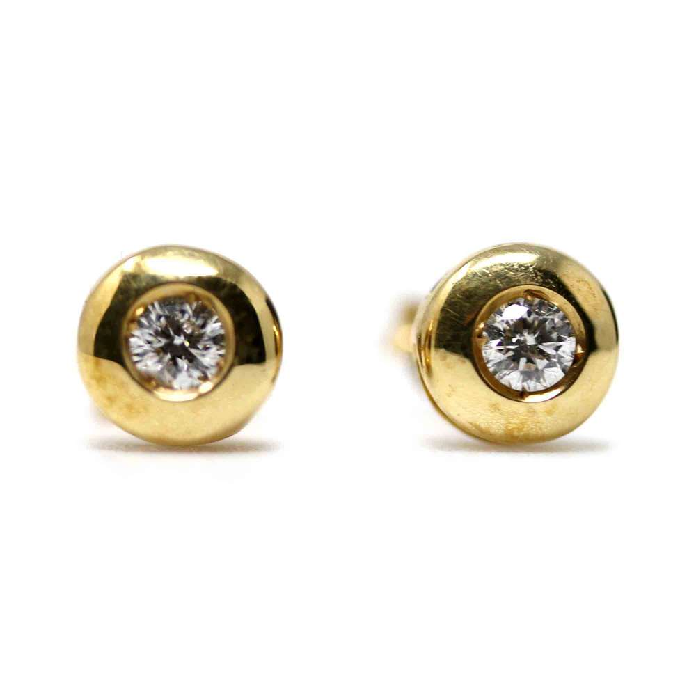 Yellow Gold Earrings with Diamonds 0.24CT