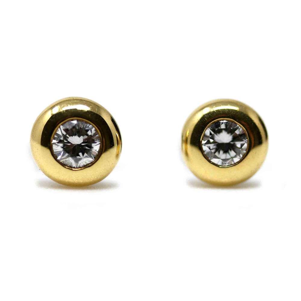Pendientes Oro Blanco/Amarillo 18kte con Brillantes 0,36 Cts