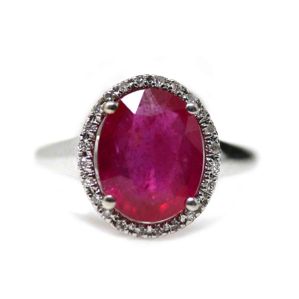 18Kl White Gold Ring Synthetic Ruby