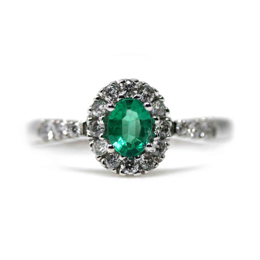 18Kl Emerald White Gold Ring