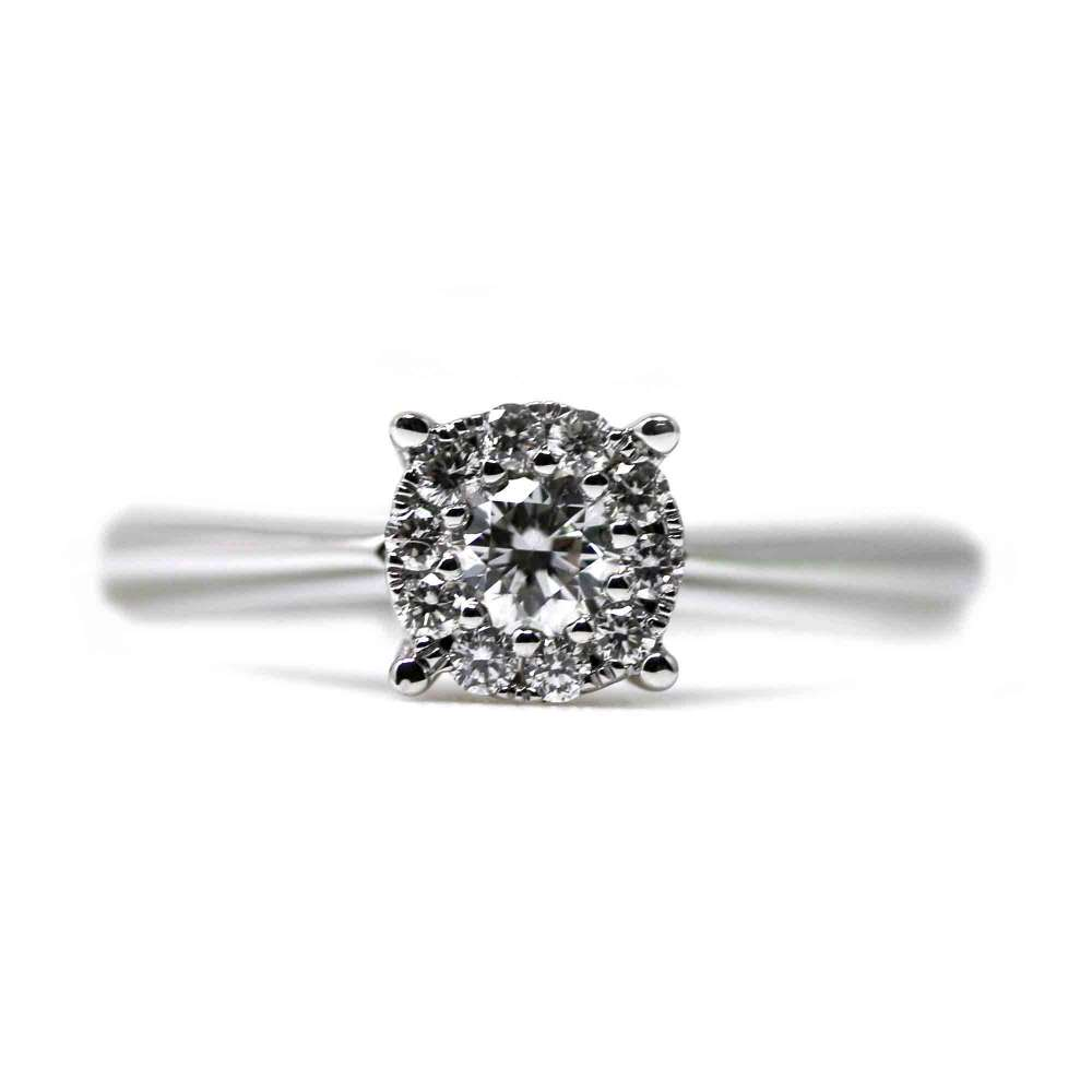 Engagement Ring White Gold 0.27 Ct