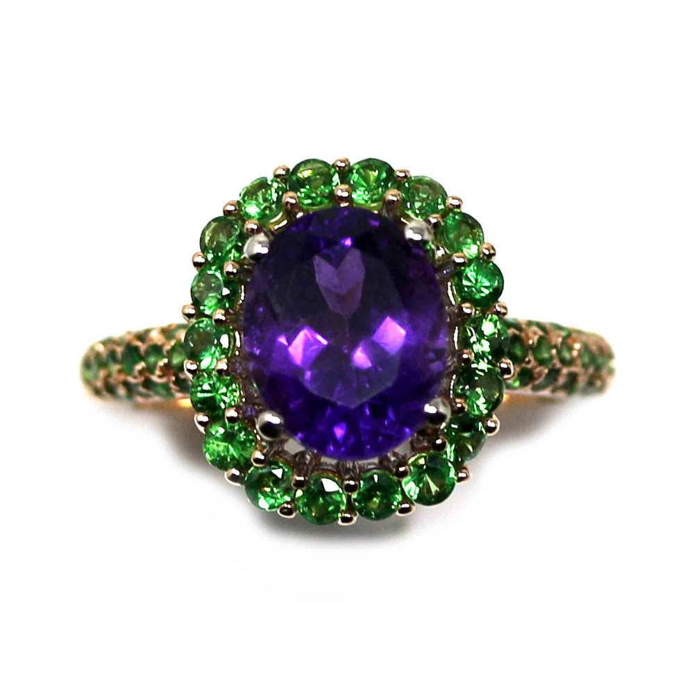 18kte White Gold and Rose Gold Ring with Amethyst and Tsavorites