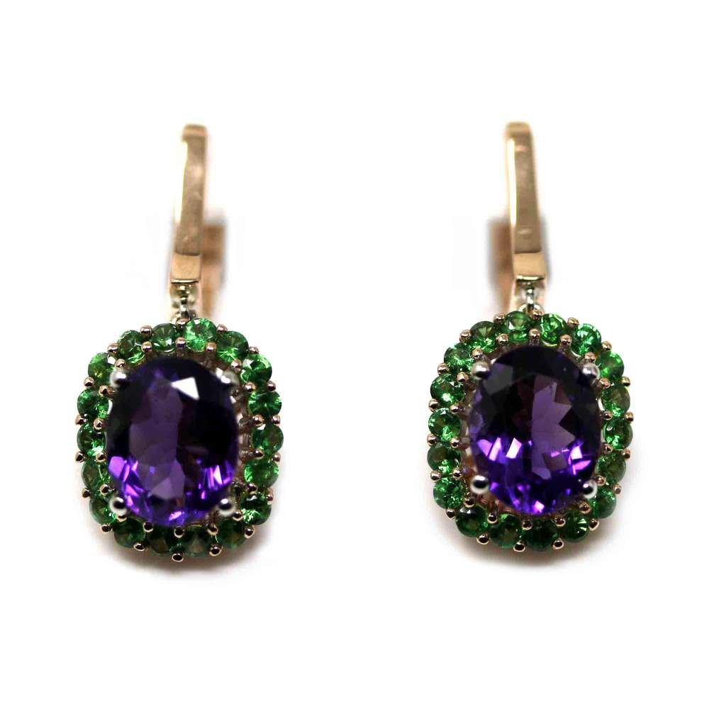 18kte White Gold and Rose Gold Earrings with Amethyst and Tsavorites