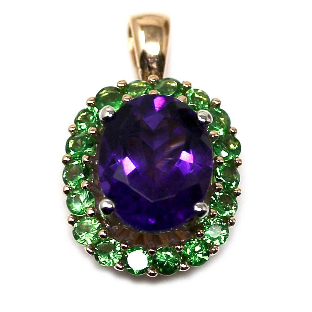 18kte Rose Gold Chain with White Gold and Rose Gold Pendant with Amethyst and Tsavorites