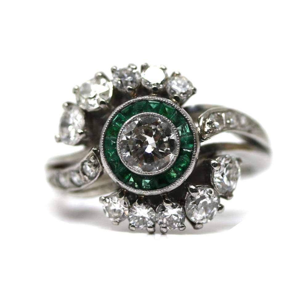 Anillo Vintage Diamante & Esmeralda