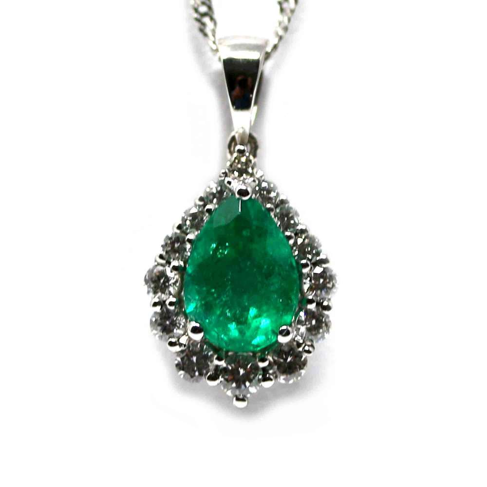 18kte white gold chain and pendant. with Esmeralda 1.12Ct. and Diamonds or, 40Ct