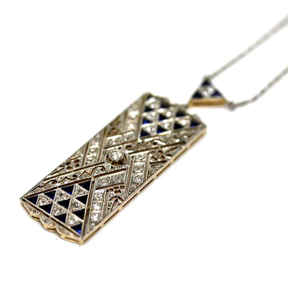 Chaîne et pendentif diamant saphir vintage