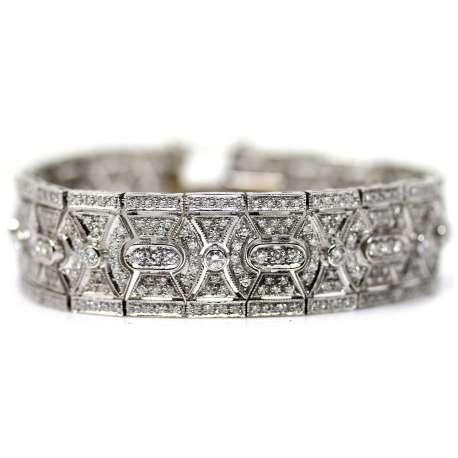 Pulsera Oro Blanco 18kl Diamante