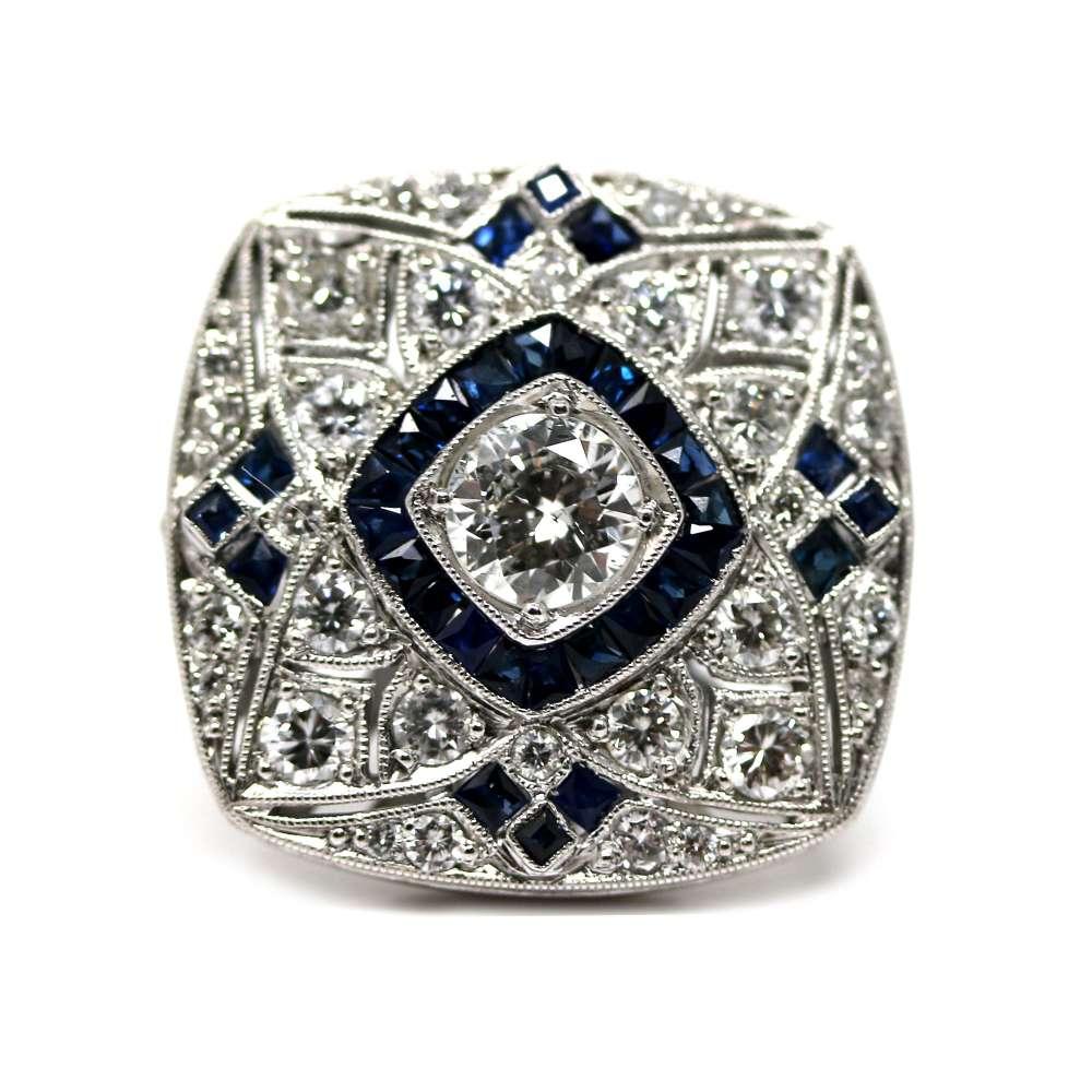 Sortija Vintage Diamante & Zafiro