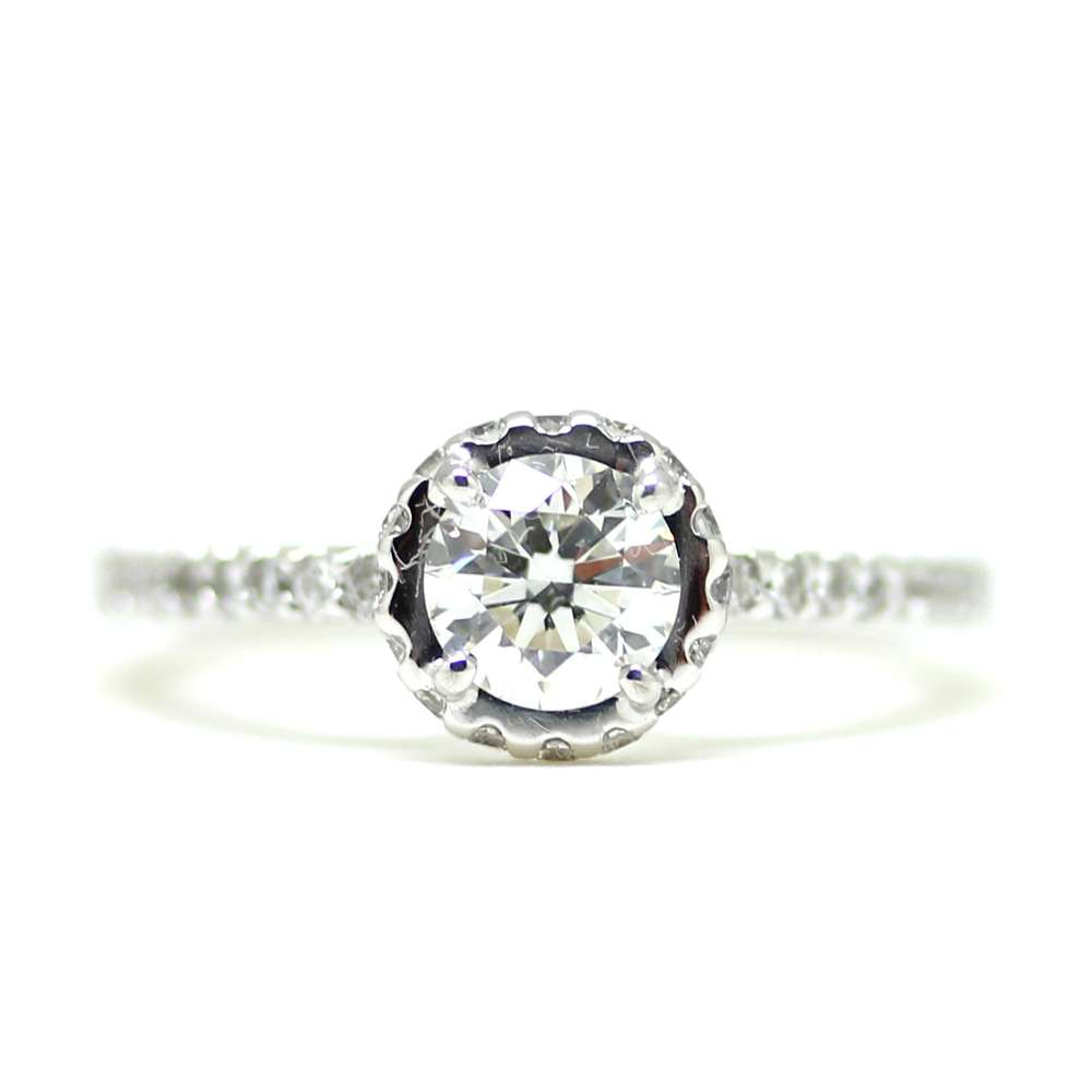Engagement Ring White Gold Diamond 0.60 Ct