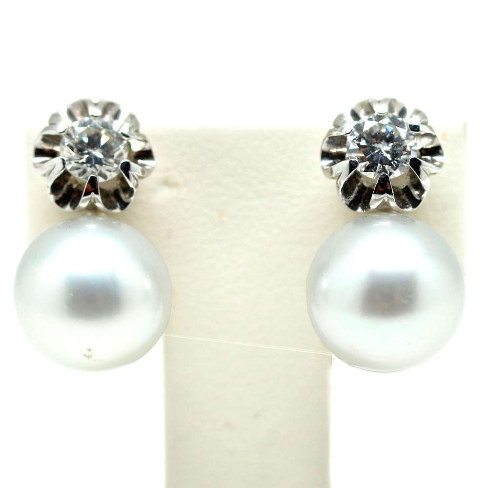 Earrings White Gold 18Kl Cultured Pearl 11mm 0.70 Cts