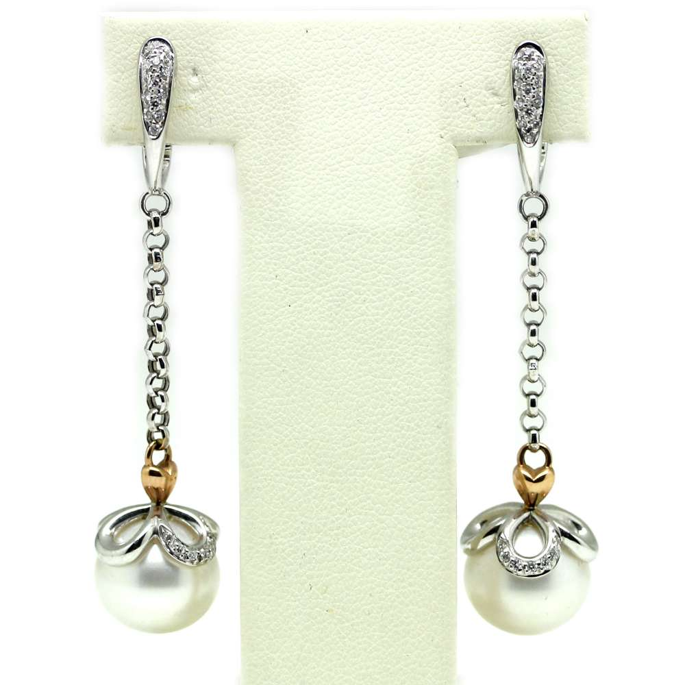 Earrings White Gold 18Kl Cultured Pearl 12mm 0.25 Cts