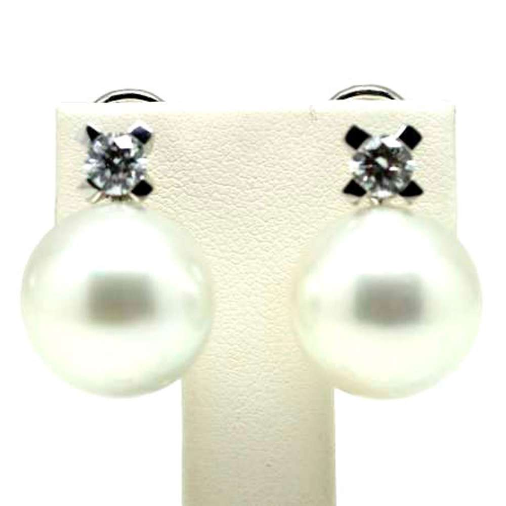 Earrings White Gold 18Kl Cultured Pearl 15mm 0.70 Cts