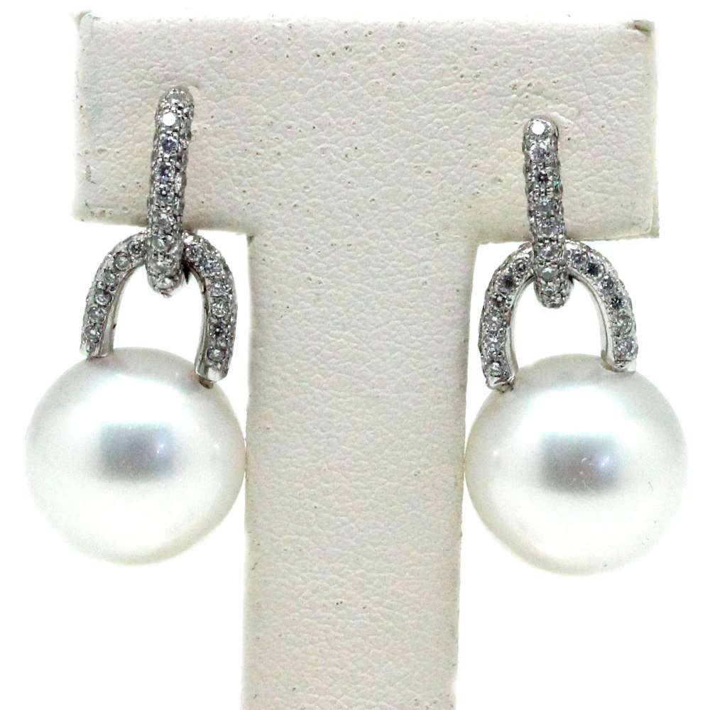Earrings White Gold 18Kl Cultured Pearl 12mm 0.75 Cts